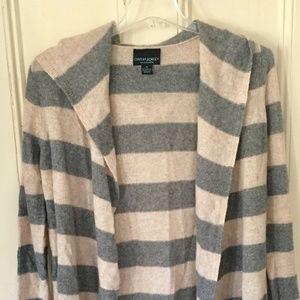 Cynthia Rowley Tops - Cynthia Rowley 100% CashmereStriped sweater hoodie